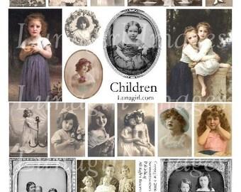 CHILDREN digital collage sheet, vintage photos Victorian girls sisters brothers, tinted postcards ephemera antique art cards crafts DOWNLOAD