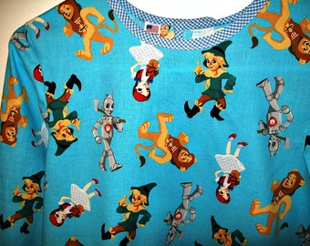 Child's Long Sleeve Art Smock - Size Large - Wizard of Oz - Ready to Ship - Dorothy - Toto - Scarecrow - Lion - Tinman