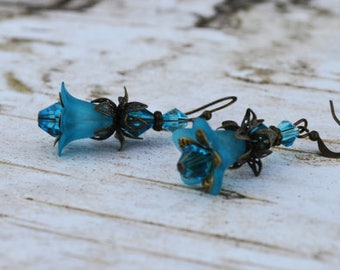 SALE - Blue Bell Flower Earrings -Vintage Inspired - Lucite Flower Earrings