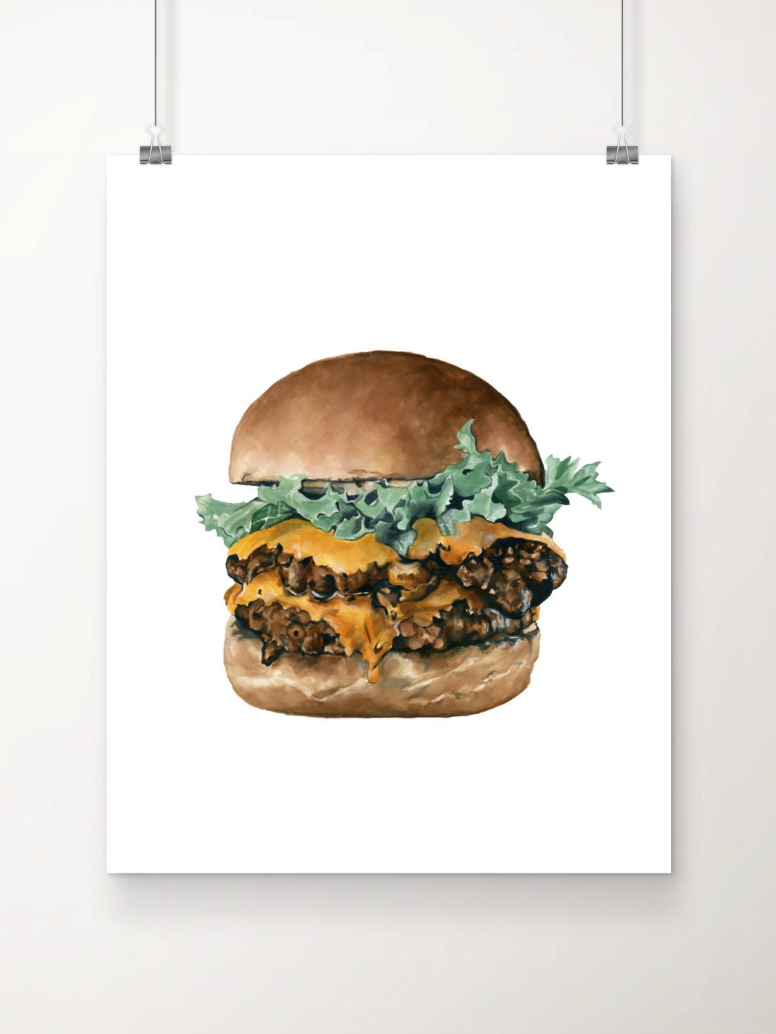 Cheeseburger Print No.1, Cheeseburger Illustration, Food Print ...