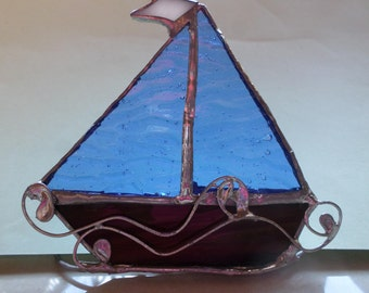 Standing, stained glass sailing boat, gift idea.