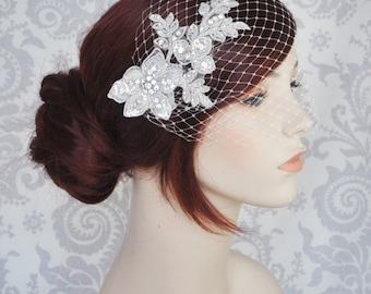 Birdcage Veil with Lace and Crystals//Birdcage Veil with rhinestones//Bandeau Veil//Crystal Birdcage Veil//Lace Bird Cage Veil - 119BC