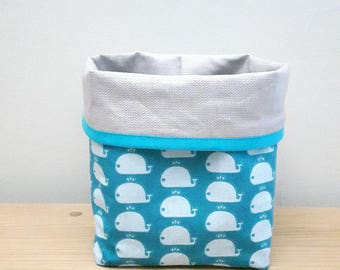 Storage basket tidy reversible laminated cotton and cotton linen turquoise whale print