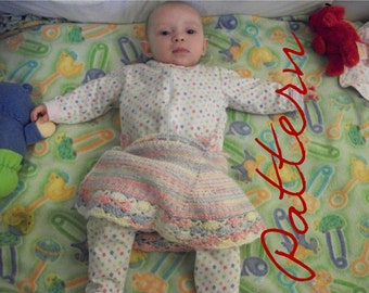 Baby Knit Pattern Skirt Knitting with Crochet Trim 0 to 12 months With Instructions For Adults