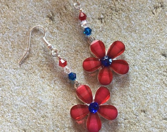 Patriotic Earrings, 4th of July Earrings, Red, White and Blue Flower Earrings, Jewelry, Summer Jewelry, Womens Jewelry