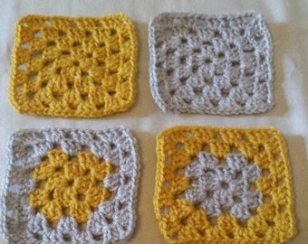 Set of 20 granny squares in mustard and grey
