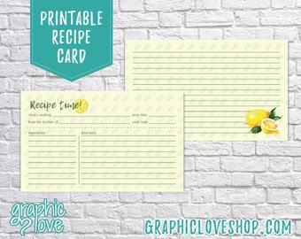 Digital 3x5 Watercolor Lemons Double Sided Recipe Card | Bridal Shower Activity | High Res JPG Files, Instant Dowload, Ready to Print