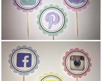 Social media cupcake toppers