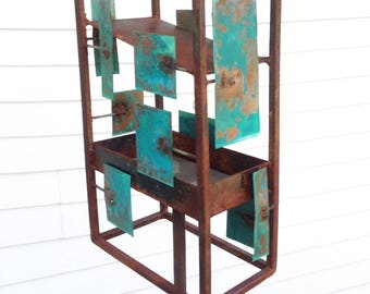 Sculptural Steel & Copper Bird Feeder No. 359 - Freestanding unique modern bird feeder
