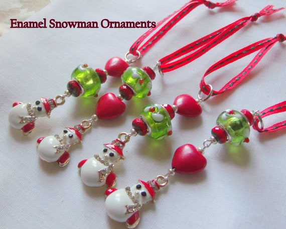 Snowman Christmas ornaments - handmade beaded ornaments - charm bead tree decor - green floral glass winter ornaments - miniature tree