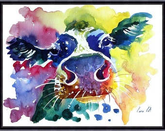 Cow watercolor painting print, Cow art, animal art, animal watercolor, animal portrait, Cow painting