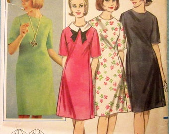 "Vintage Sewing Pattern Butterick 3435 1960s Dress 38"" Bust - Free Pattern Grading E-book Included"