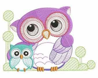 Cute Owls Baby Mother Machine Embroidery Designs Instant Download 4x4 5x5 6x6 hoop APE2061-003