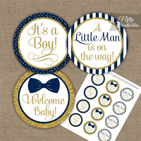 Bow Tie Baby Shower Toppers Printable Navy Blue Bow Tie