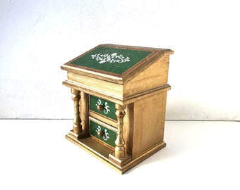Vintage Green, Gold and Cream Florentine Jewelry Music Box as a Davenport Writing Desk