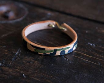 Hand Printed Camo Herman Oak Vegtan Leather Cuff with Solid Brass 'S' Clasp
