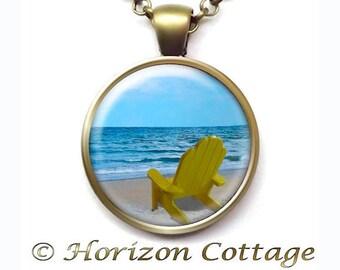Beach Scene and Adirondack Chair, Peaceful Ocean, Beach Vacation Souvenir, Beach Chair, Empty Chair, Art Pendant With, Your Choice of Finish