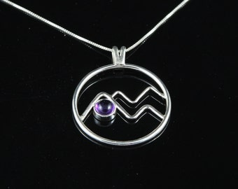 Sterling Silver Mountain Pendant with Amethyst setting