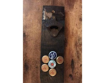 Wall Mounted Bourbon Stave Magnetic Bottle Opener w/ mounting hardware