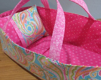 Doll Carrier, Will Fit Bitty Baby and Wellie Wisher Dolls, Pink  Paisley with Pink Lining, 16 Inches Long, Doll Basket