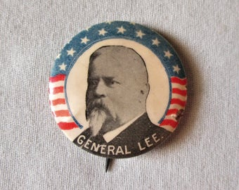 1896 Spanish American War General Fitzhugh Lee Celluloid Pin Vintage Original
