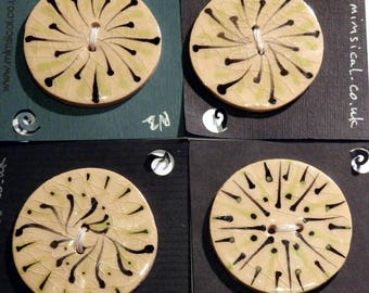 Handmade ceramic buttons - a set of 4 large handpainted green pottery buttons C110