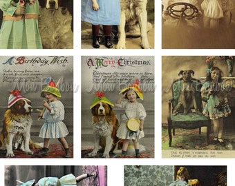 Digital Download of 8 Vintage Children and their Pets Collage Sheet No. 2  - INSTANT DOWNLOAD