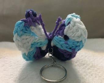Crochet Butterfly Keychain Purse Charm