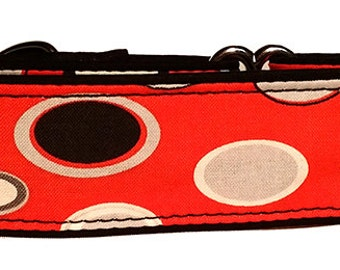 """Red Black and Gray  1.5""""  Martingale Collar-"""