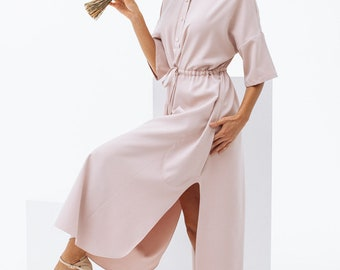 Awesome pink shirt dress with buttons and cuts, maxi summer shirt dress by Nadi Renardi