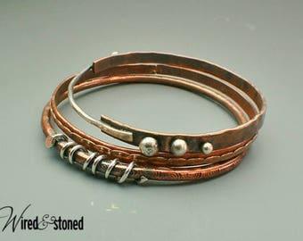 Copper Bangles, Copper Bracelets, Sterling Silver Bangles, Bangle Trio, Textured, Hammered, Brass, Handmade, Oxidized