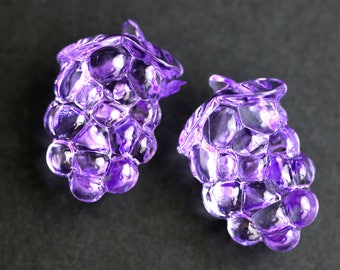 Two (2) Purple Grape Buttons. Bunch of Grapes Purple Buttons. Clear Buttons. Clear Acrylic Buttons. Plastic Buttons. 26mm x 17mm