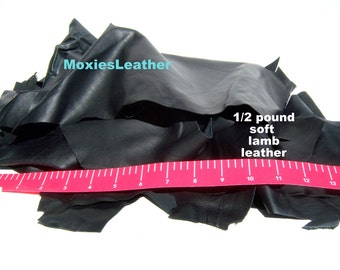 leather pieces all black remnants crafts, half a pound of leather remnants large sizes and small