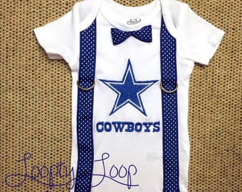Dallas Cowboys Inspired Monogrammed Onesie with Suspenders and Bowtie