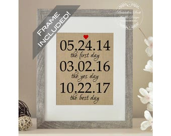 FRAME INCLUDED The First Day The Yes Day The Best Day, Wedding Gift, Wedding Gifts for Couple, Bridal Shower Gift, Bride Gift, Groom gift