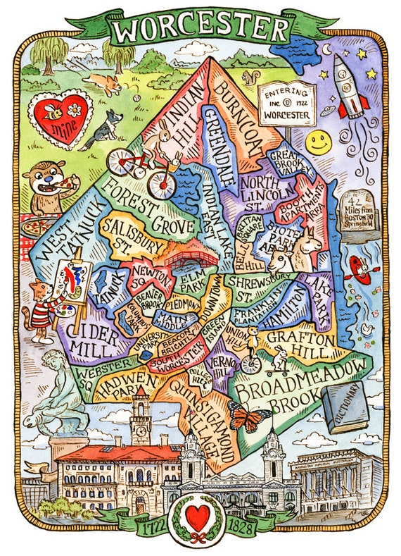 Worcester Massachusetts Neighborhood Map Art Print 11 x