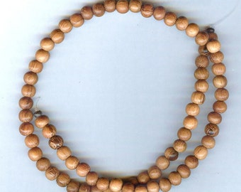 "6mm Unique Bayong Round Wood Beads 16"" Strand"
