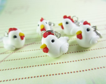Chicken Stitch Markers, knitting accessories, chicken charms, gift for knitters, knit, funny gift, animal, gift for her, polymer clay farm