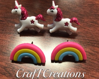 Rainbows and Unicorns Nickel Free Earrings SHIPPING INCLUDED
