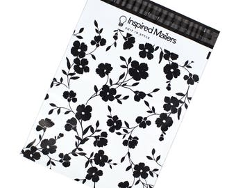 """Black Floral Printed Mailers 10x13"""" - Pack of 100 - FREE SHIPPING"""