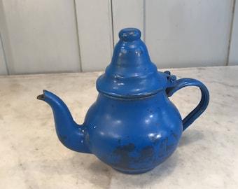 Vintage French blue enamel teapot