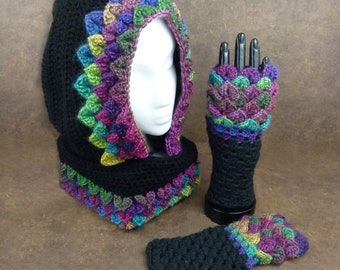 Dragonscale Cowl and Gloves Set - Stained Glass