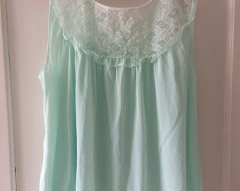 Mint Green Vintage Lace Baby Doll Top - Philmaid Size L Large - 1960s Lingerie Nightgown