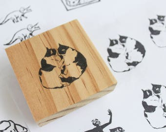 cat rubber stamp / cat stamps / cat lover gift