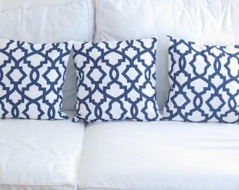 Navy Blue Pillows, Trellis Lattice Pillow Cover,Navy Chair Pillows,Trellis Pillows, 16x16 in decorative pillows, Blue Pillows, Throw Pillows
