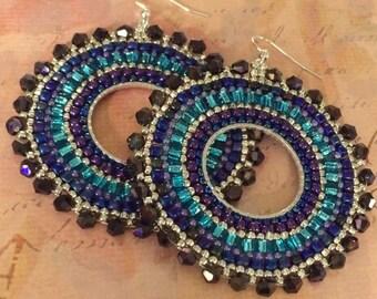 Beaded Hoop Earrings - Silver Metallic Plum GODDESS Crystal and Seed Bead Earrings
