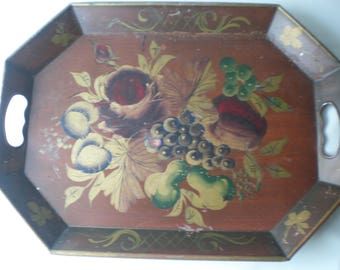 Vintage Large Heavy Painted Tole Tray