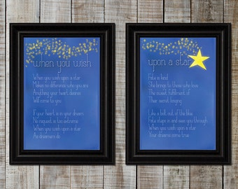 When You Wish Upon A Star Lyric Print Pair - 11x14