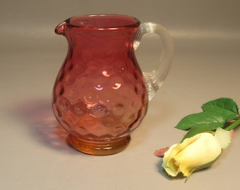 Cranberry Glass Polkadot Jug or Creamer Hobbs, Brockunier Inverted Thumbprint