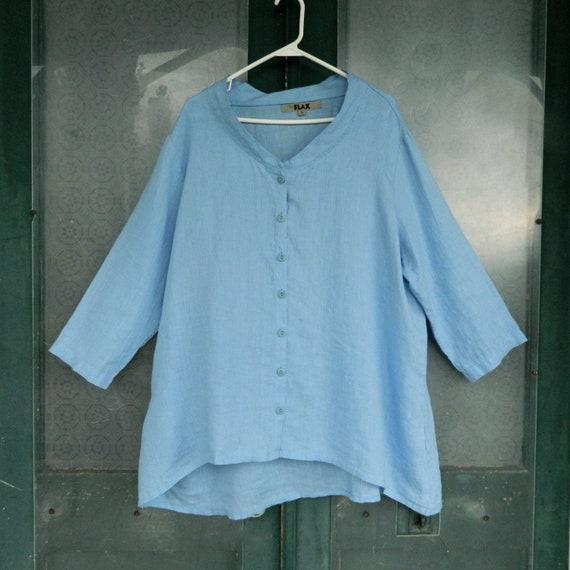 FLAX Designs 3/4 Sleeve Blouse -L- Sky Blue Light Weight Linen